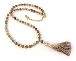 Khaki Tassel Picture Jasper Stone Bead Necklace