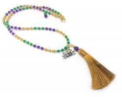 Mardi Gras Tassel  Pearl Bead Necklace