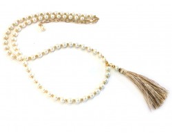 Khaki Tassel Pearl Glass Bead Necklace