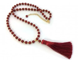 Red Tassel Gold Stone Bead Necklace