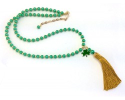 Green Glass Pearl Charm Gold Tassel Necklace