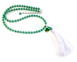 Green Glass Pearl Charm Silver Tassel Necklace