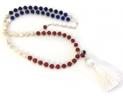 Red White Blue Bead Tassel Necklace