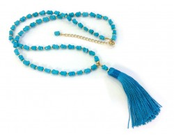 Turquoise Tassel Gold Stone Bead Necklace
