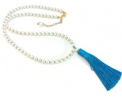 Aquamarine Seed Bead Pearl Tassel Necklace
