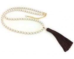 Brown Seed Bead Pearl Tassel Necklace