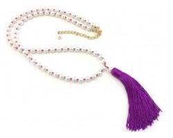 Fuchsia Seed Bead Pearl Tassel Necklace