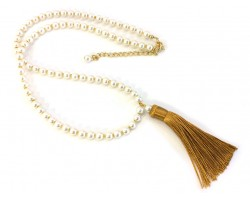 Gold Seed Bead Pearl Tassel Necklace