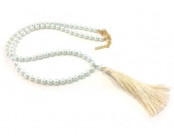 Off White Seed Bead Pearl Tassel Necklace