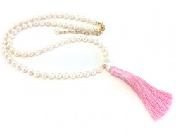 Pink Seed Bead Pearl Tassel Necklace