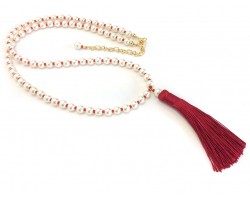 Red Seed Bead Pearl Tassel Necklace
