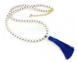 Blue Seed Bead Pearl Tassel Necklace
