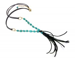 Turquoise Stone Nugget Gold Leather Tassel Necklace