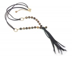 Brown Acid Agate Gold Leather Tassel Necklace