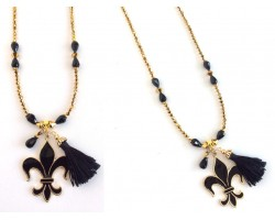 Black Gold Fleur de Lis Tassel Beaded Necklace