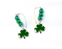 Green Clover Pearl Kidney Wire Earrings