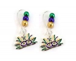 Mardi Gras Mask Pearl Kidney Wire Earrings