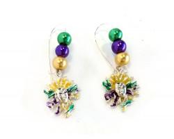 Mardi Gras Mask Pearl Kidney Wire Earrings