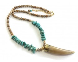 Picture Jasper Bead Turquoise Nugget Horn Necklace