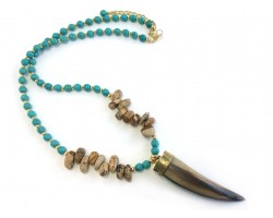 Turquoise Picture Jasper Nugget Horn Necklace