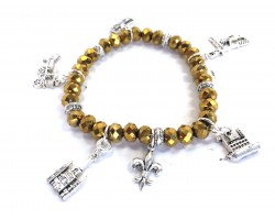 Gold Crystal NOLA Charm Stretch Bracelet