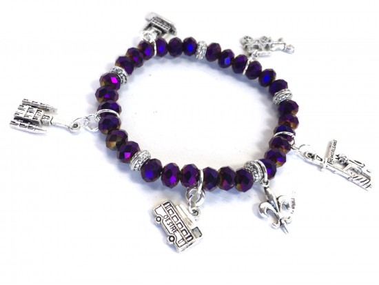 Purple Crystal NOLA Charm Stretch Bracelet