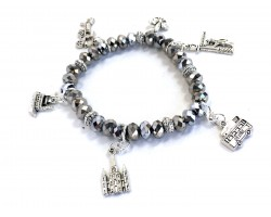 Silver Crystal NOLA Charm Stretch Bracele