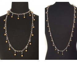 Black Gold Pearl Crystal Charm Chain Necklace