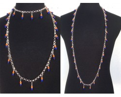 Blue Orange Pearl Crystal Charm Chain Necklace