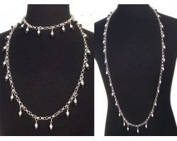 Blue White Pearl Crystal Charm Chain Necklace