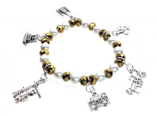 Gold Crystal Pearl NOLA Charm Stretch Bracelet
