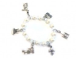 Pearl Crystal New Orleans Stretch Charm Bracelet