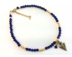 Navy Matt Gold Beads Arrowhead Choker Necklace