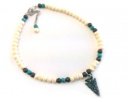 Patina Green Arrowhead Turquoise Beads Choker Necklace