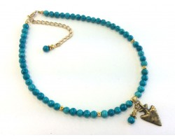 Turquoise Matt Gold Beads Arrowhead Choker Necklace