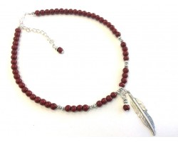 Dark Red Pearl Beads Silver Feather Choker Necklace