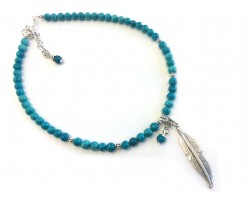 Turquoise Beads Silver Feather Choker Necklace