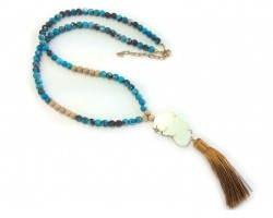Beige Stone Slab Turquoise Dyed Stone Bead Necklace