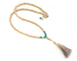 Beige Natural Wood Turquoise Bead Beige Tassel Necklace