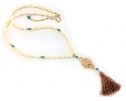Carved Bone Pendant Bleach Bone Bead Tassel Necklace