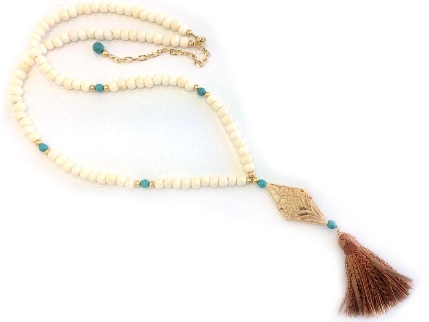 Carved Bone Pendant Bleach Bone Bead Tassel Necklace Yf29088bon