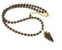 Chocolate Brown Bead Arrowhead Necklace