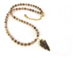 Picture Jasper Bead Arrowhead Necklace