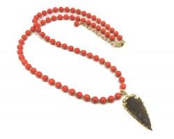 Orange Stone Bead Arrowhead Necklace