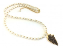 Pearl White Glass Bead Arrowhead Necklace
