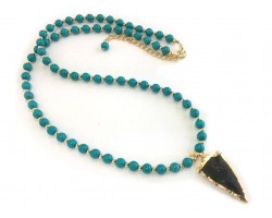 Turquoise Stone Bead Arrowhead Necklace