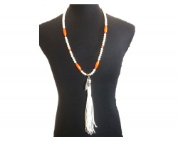 Orange White Heshi Melon Feather Arrow Necklace