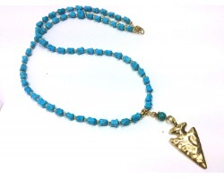 Turquoise Stone Bead Metal Arrowhead Necklace