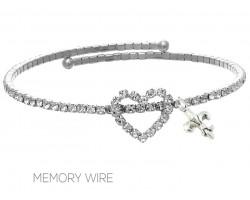 Silver Crystal Fleur De Lis Heart Wire Bracelet