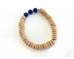 Blue Miracle Bead Natural Coco Wood Stretch Bracelet